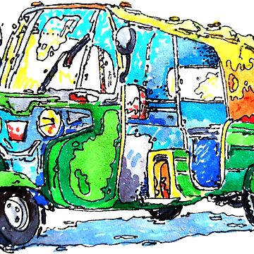 Tuk Tuk Auto Rickshaw Yellow Green by rooosterboy
