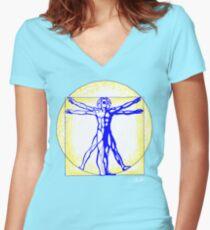 Vitruvian Man Women's Fitted V-Neck T-Shirt