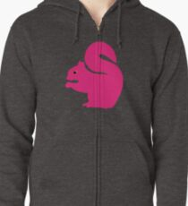 Big Pink Squirrel Zipped Hoodie