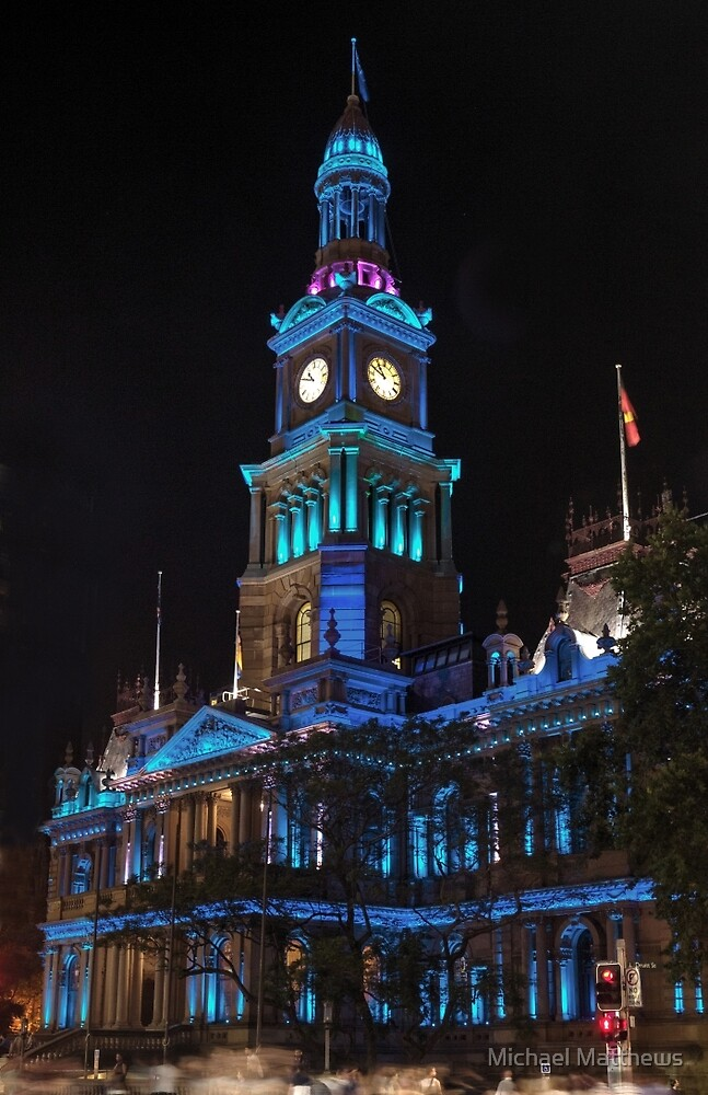 Town Hall in Xmas Blue by Michael Matthews