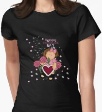 Happy Valentines Girl Womens Fitted T-Shirt