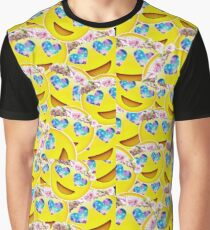 Galaxy Heart Eyes Emoji With Flower Crown Collage Graphic T-Shirt