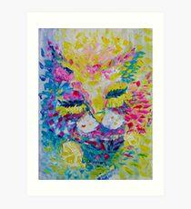 Pink Lemon Cat Painting Original Fine Art by Ekaterina Chernova Art Print
