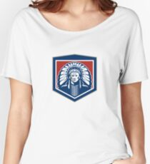Native American Chief Shield Retro Women's Relaxed Fit T-Shirt