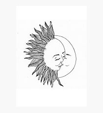 Sun and moon Photographic Print