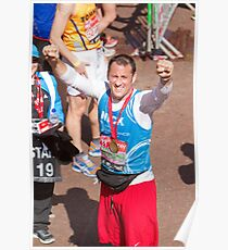 Nick Pickard with his London Marathon medal Poster