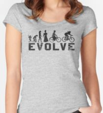 Bike Vintage Women's Evolution of Cycling Evolve Women's Fitted Scoop T-Shirt