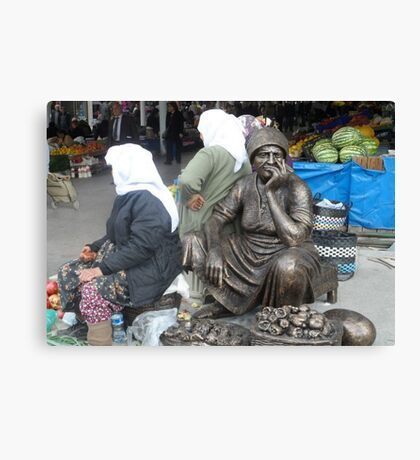 Mugla Market Traders and Honorory Statues Canvas Print
