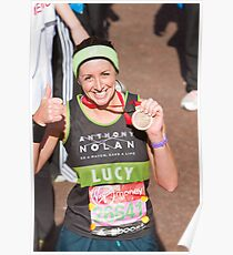 Lucy Siegle with her London Marathon medal Poster