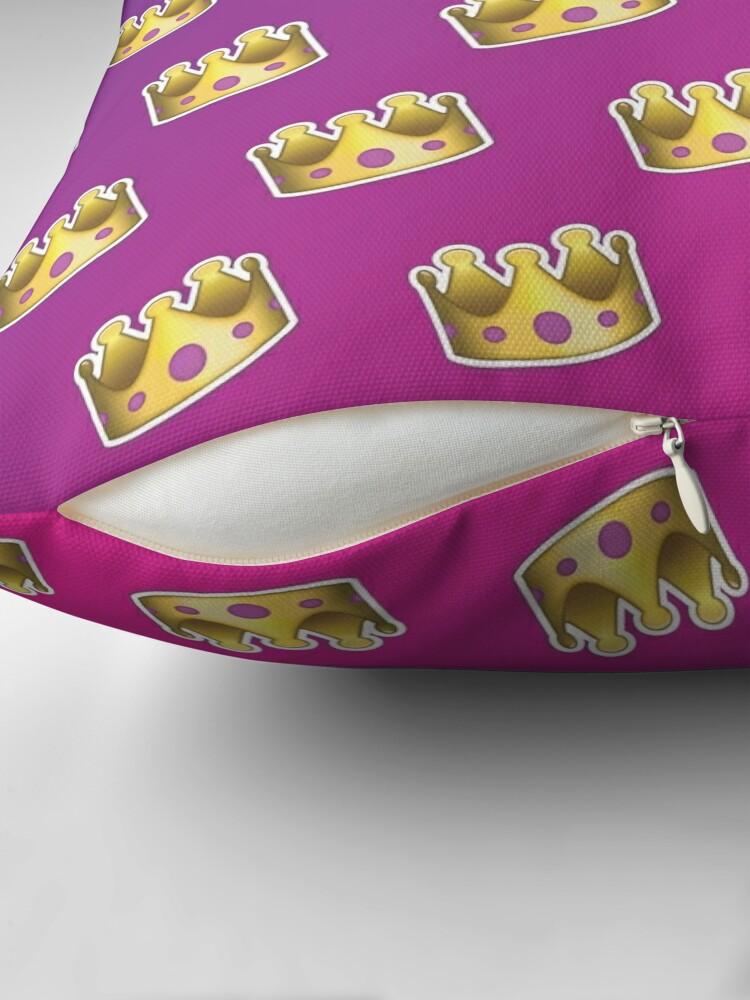 Alternate view of Crown Emoji Pattern Pink and Purple Throw Pillow