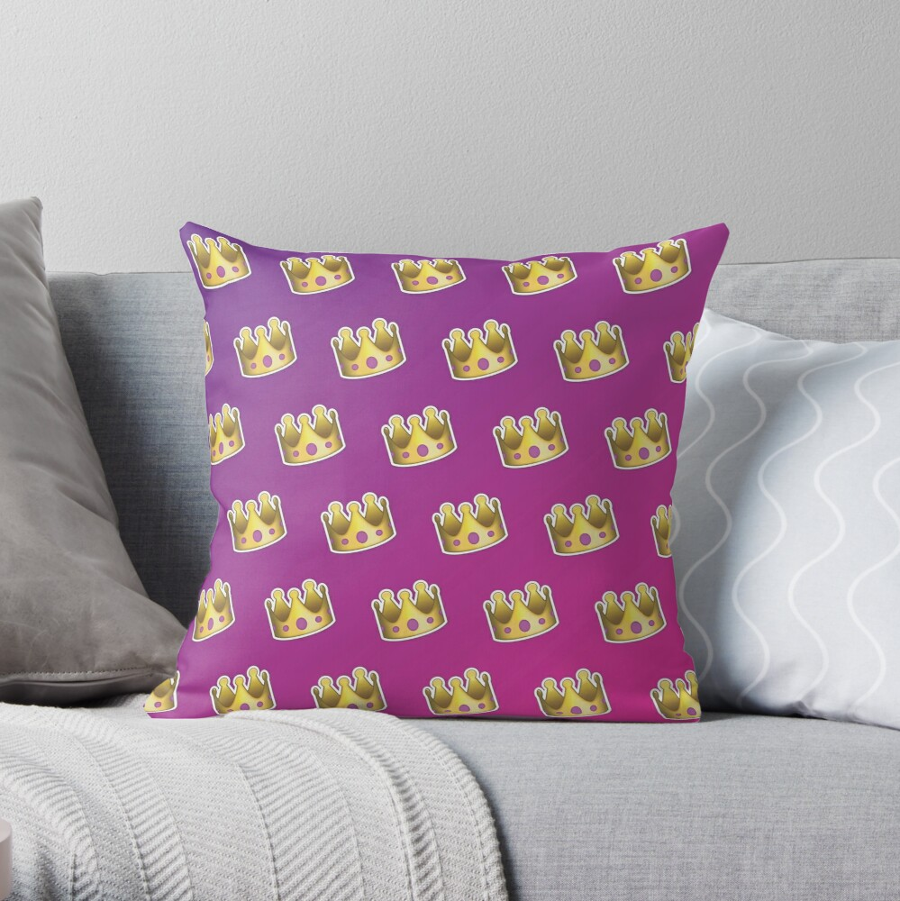 Crown Emoji Pattern Pink and Purple Throw Pillow
