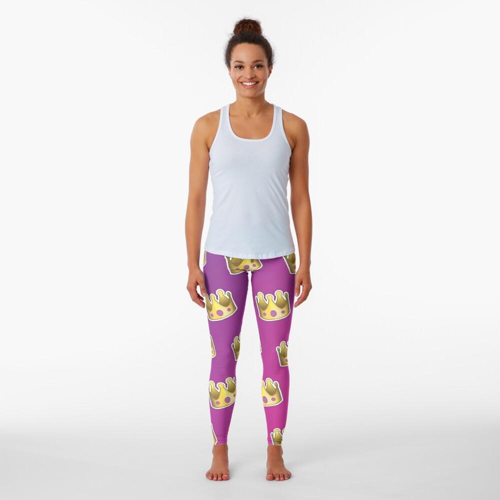 Crown Emoji Pattern Pink and Purple Leggings