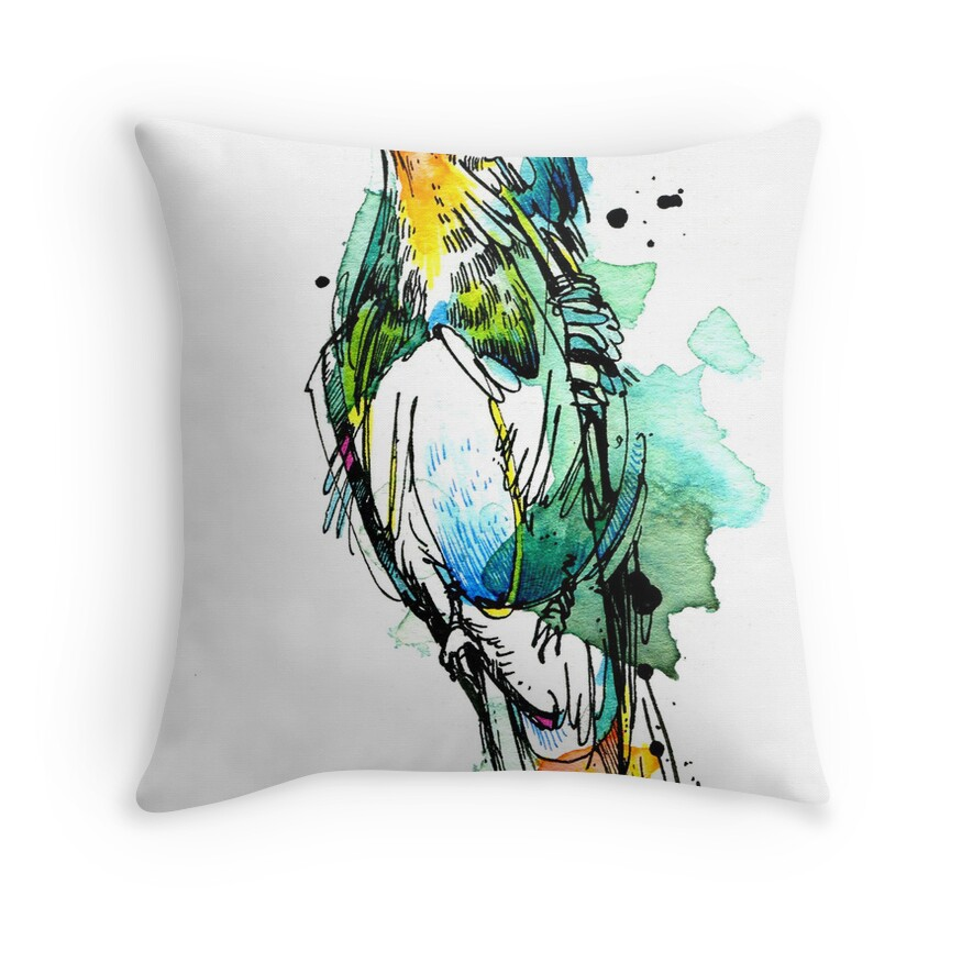 """Emerald Hummingbird"" Throw Pillows By Abby Diamond"