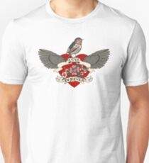 Old-school style tattoo heart with flowers and bird T-Shirt