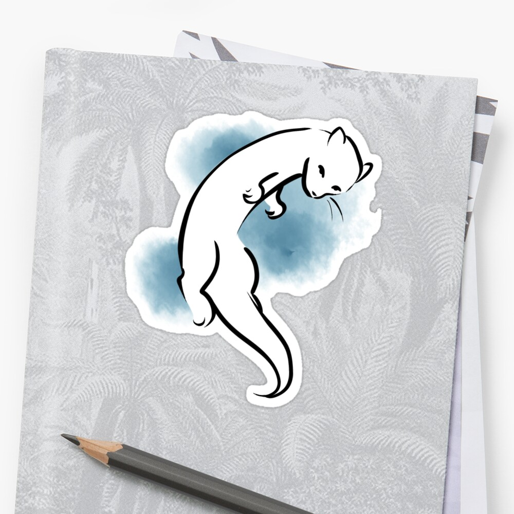 Watercolour Water Cat - Blue by Phishritzy