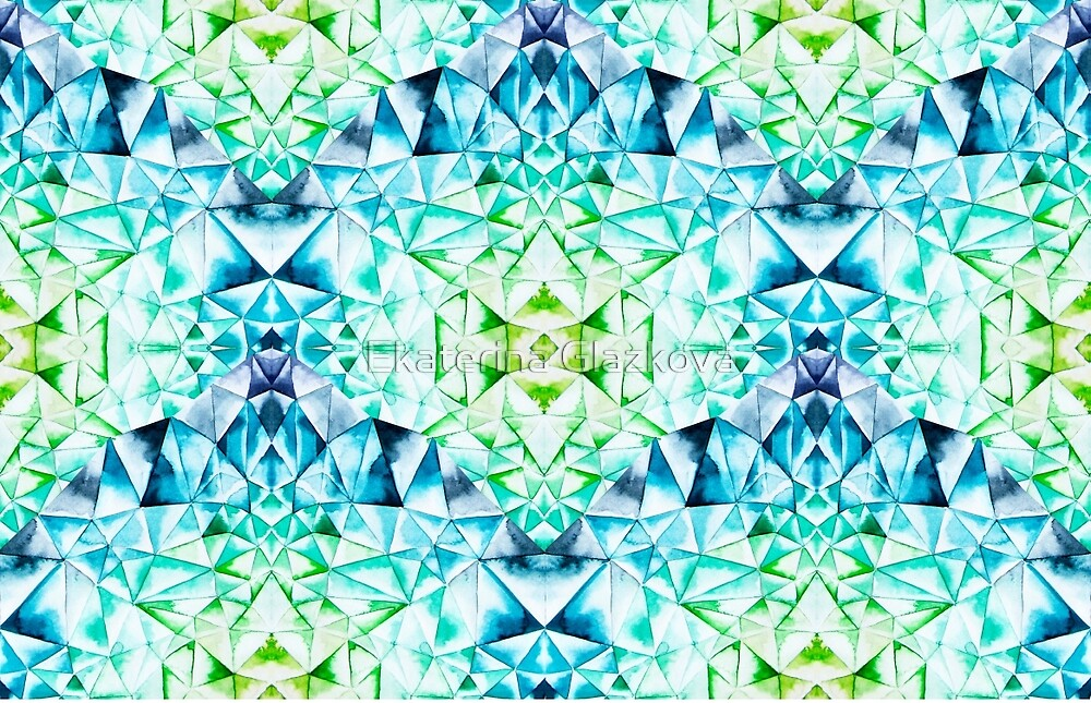 Abstract watercolor crystal pattern by Ekaterina Glazkova