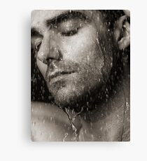 Sensual portrait of man face under pouring water Black and white art photo print Canvas Print