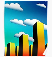 Tall Buildings And Low Clouds Poster