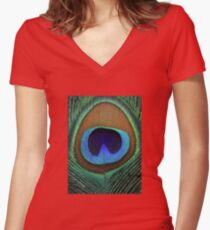 Beautiful peacock feather Women's Fitted V-Neck T-Shirt