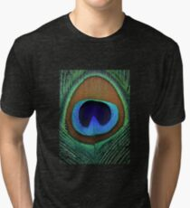 Beautiful peacock feather Tri-blend T-Shirt