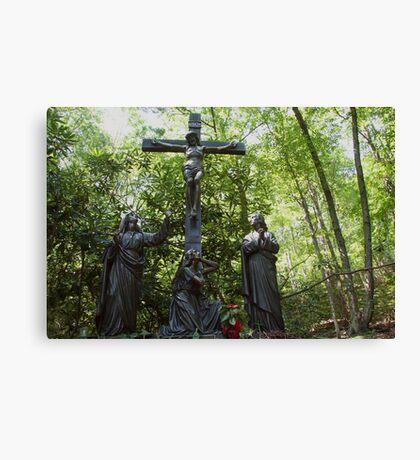 On a hill far away stood an old rugged cross... Canvas Print
