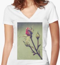 Blushing Bud Women's Fitted V-Neck T-Shirt