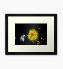 Digitally manipulated image of a white butterfly and yellow flower Framed Print