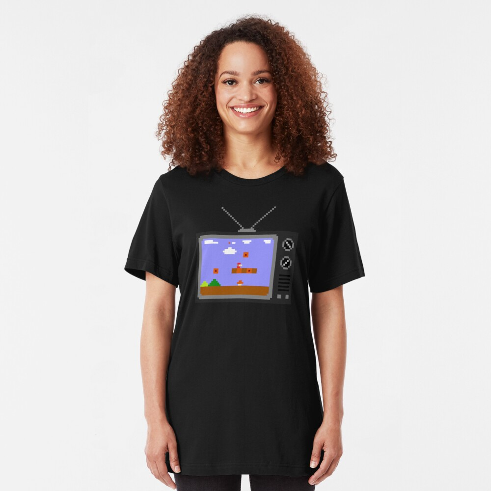 8-Bit Retro TV Slim Fit T-Shirt
