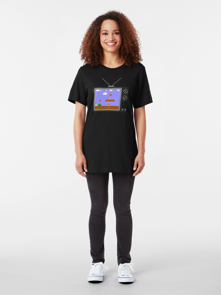 Alternate view of 8-Bit Retro TV Slim Fit T-Shirt