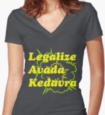 LEGALIZE AVADA KEDAVRA Women's Fitted V-Neck T-Shirt