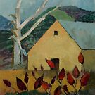 Yellow Barn and Sumac by Deborah Pritchett