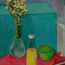 Still Life with Green Box and Wildflowers by Deborah Pritchett