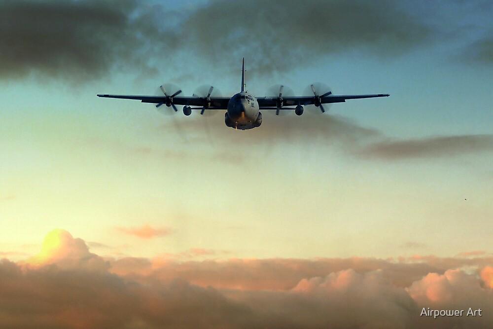 C-130E Inbound by Airpower Art