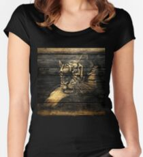 Tiger Face on Wooden Women's Fitted Scoop T-Shirt