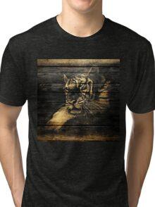 Tiger Face on Wooden Tri-blend T-Shirt