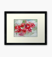 Semi abstract roses on green  Framed Print