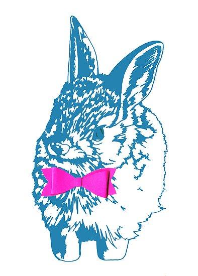 Blue Bunny, Pink Bow by hettyandbaar