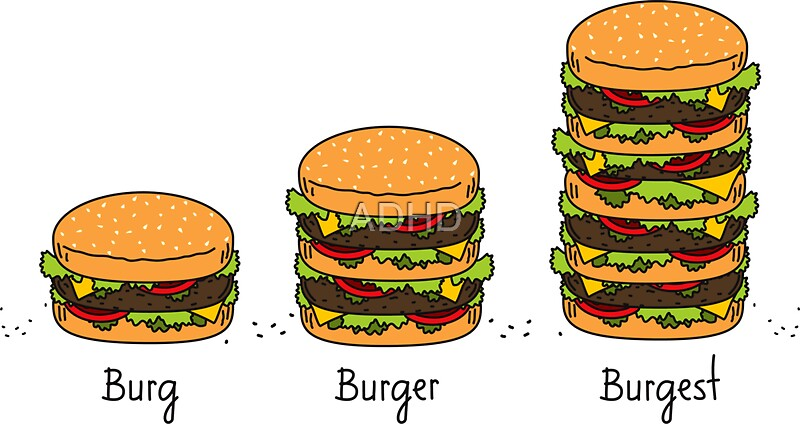 burger explained burg burger burgest stickers by adhd redbubble. Black Bedroom Furniture Sets. Home Design Ideas