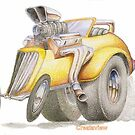 Yellow Hot Rod by customartimages