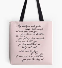 Pride and Prejudice, Darcy (black) Quote  Tote Bag