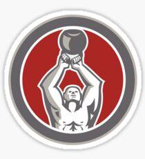 Strongman Lifting Up Kettlebell Circle Retro Sticker