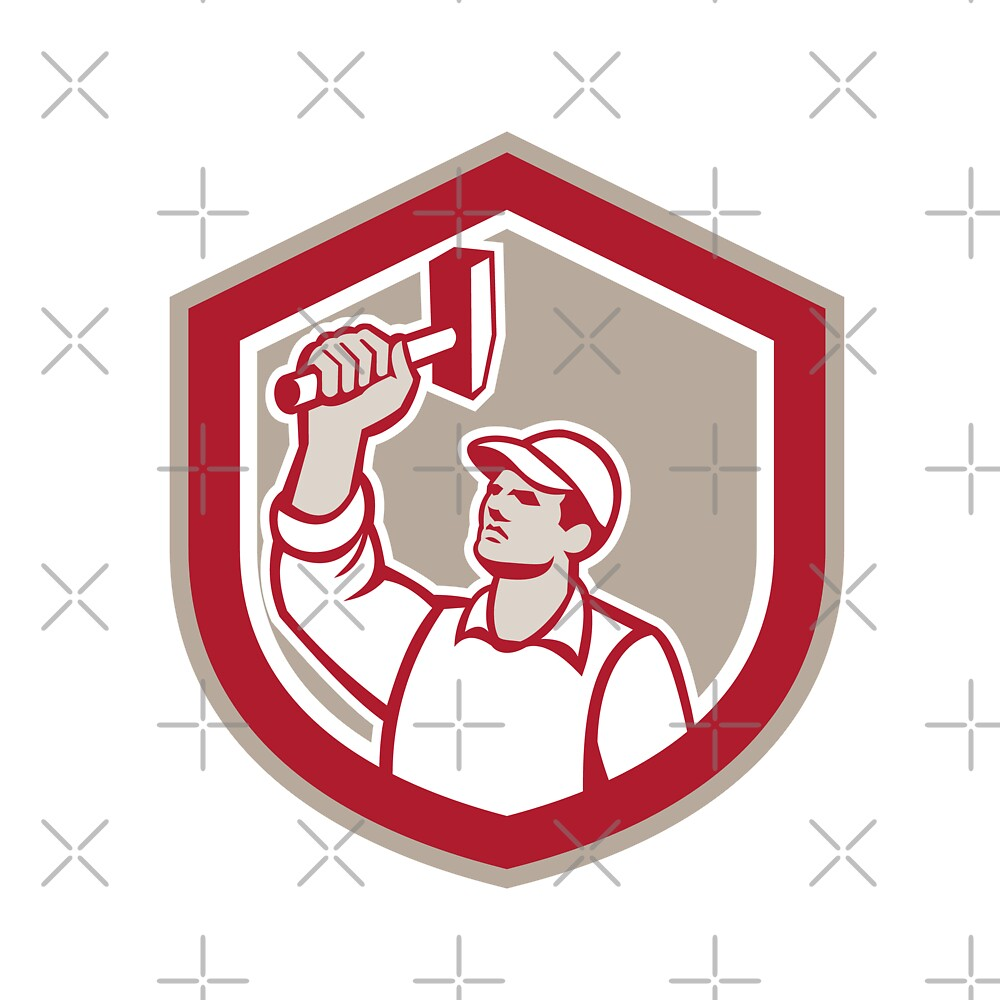 Union Worker Wielding Hammer Shield Retro by patrimonio