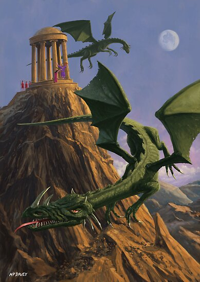 dragons flying around a temple on mountain top posters by martyee