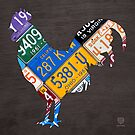 License Plate Art Rooster by designturnpike