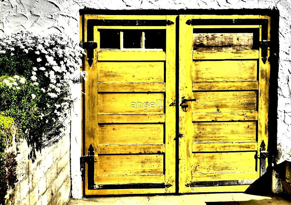 Old wooden garage door by ©The Creative  Minds