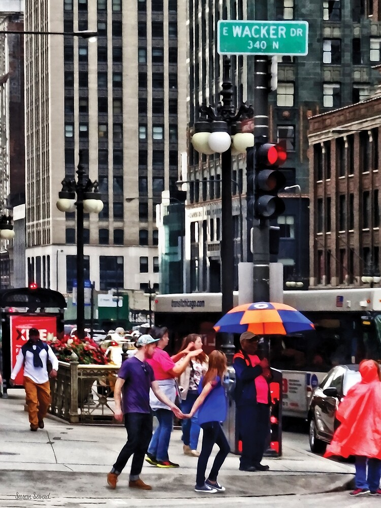 Chicago IL - Rainy Day on E Wacker Drive by Susan Savad