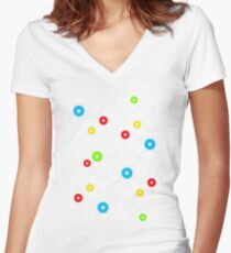 abstract music  Women's Fitted V-Neck T-Shirt