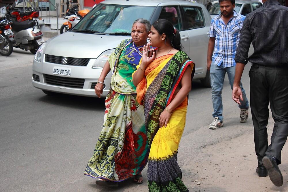 Two Women Hyderabad by Andrew  Makowiecki