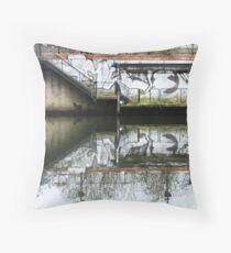 Manchester Canal Reflection Street Art Graffiti  Throw Pillow