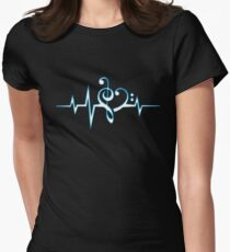 MUSIC HEART PULSE, Love, Music, Bass Clef, Treble Clef, Classic, Dance, Electro Women's Fitted T-Shirt